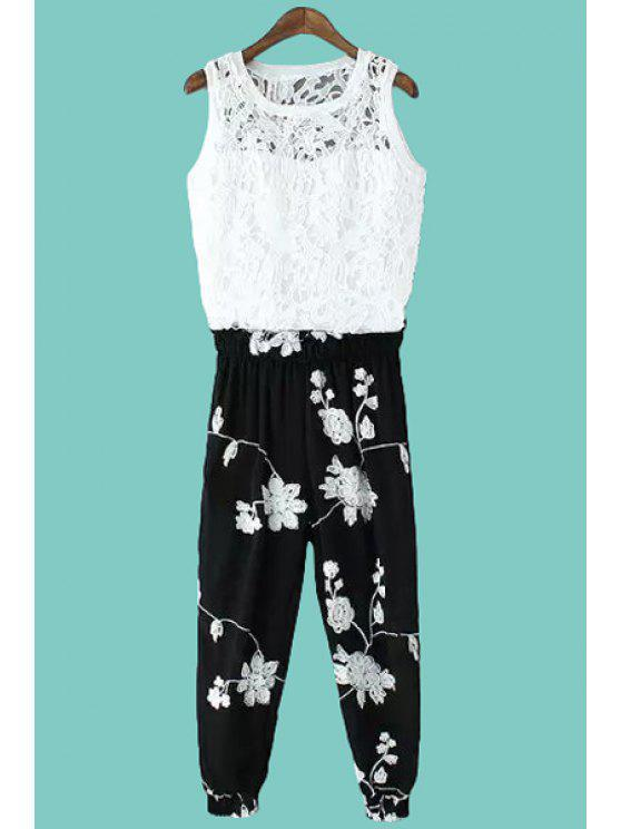 fancy Crochet Tank Top and Floral Embroidery Pants Suit - WHITE AND BLACK ONE SIZE(FIT SIZE XS TO M)