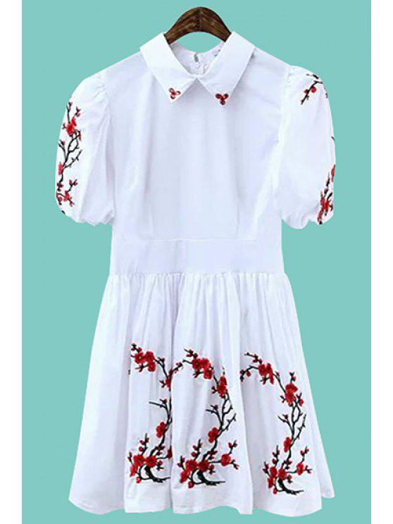 fashion Floral Embroidery Short Sleeve Dress - WHITE S