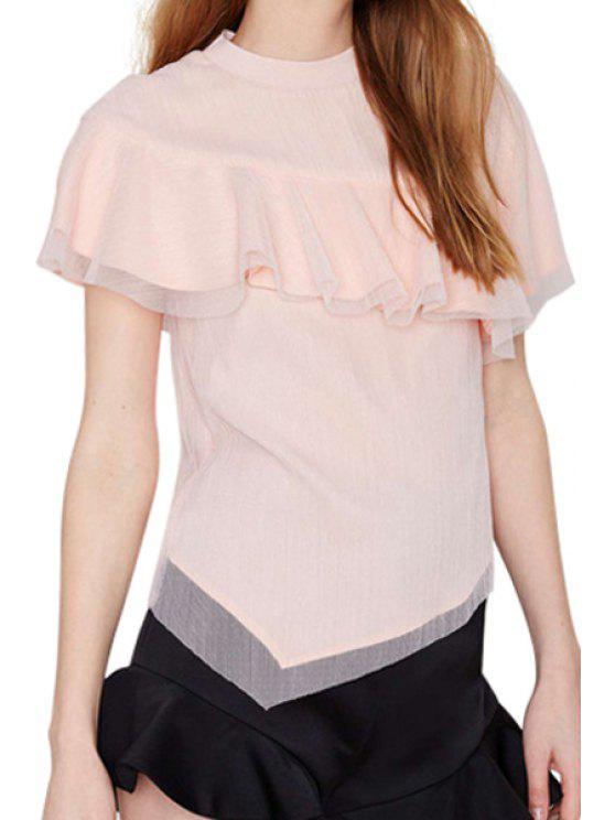 women Jewel Neck Flounce Splicing T-Shirt - PINK S