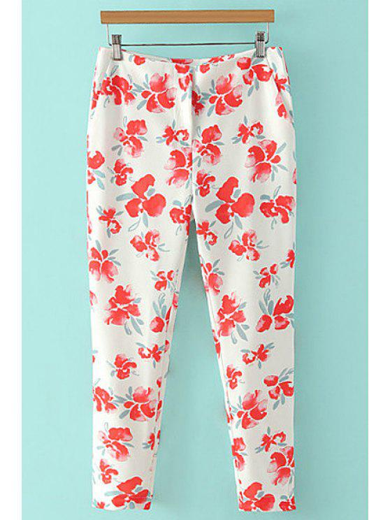 affordable Floral Print Nine Minutes of Pants - RED WITH WHITE S