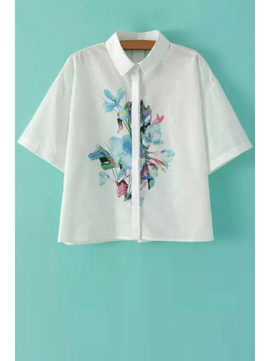latest Print Hollow Short Sleeve Shirt - WHITE S