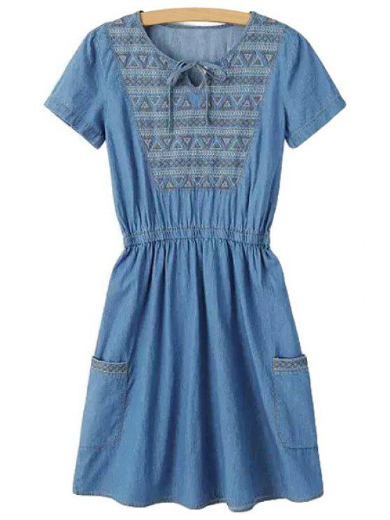 women Embroidery Denim DShort Sleeve ress - BLUE S