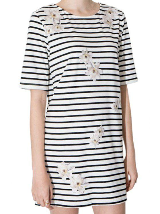 chic Stripe Floral Print Short Sleeve Dress - STRIPE S