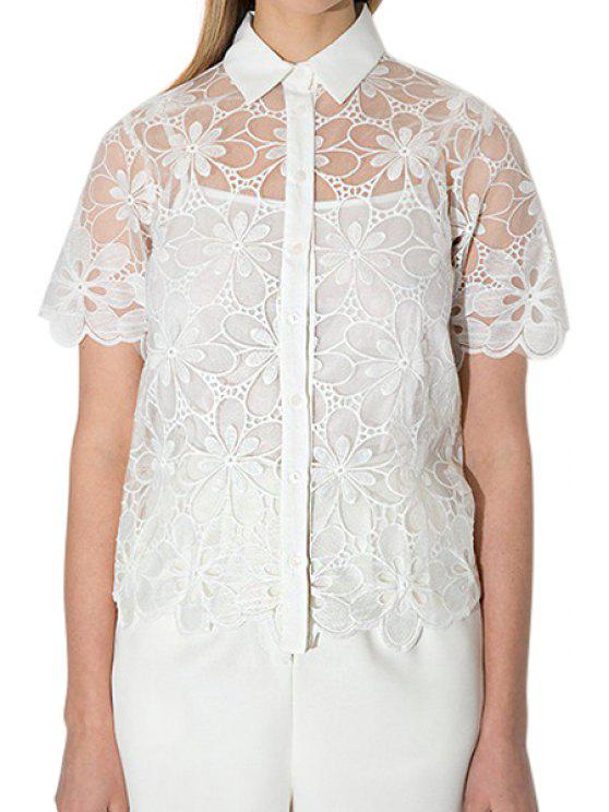 womens Floral Pattern See-Through Short Sleeve Shirt - WHITE 2XL