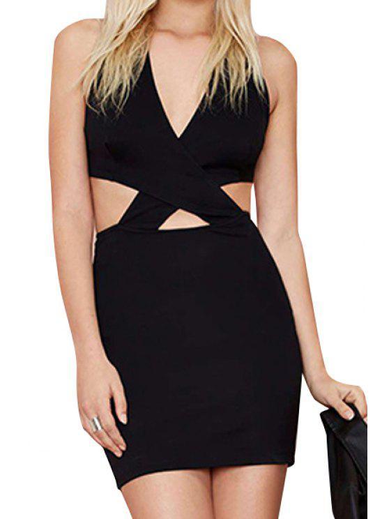 shops Black V Neck Sleeveless Bodycon Dress - BLACK S