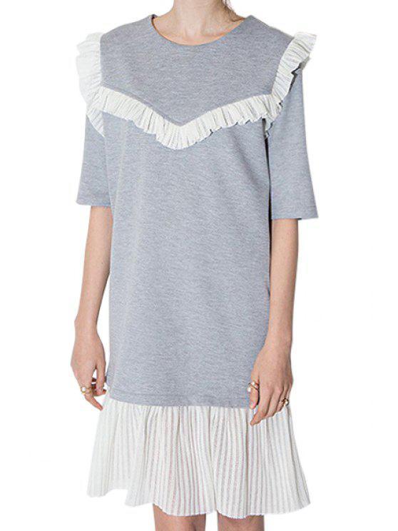shop Flounce Splicing Half Sleeve Dress - GRAY S
