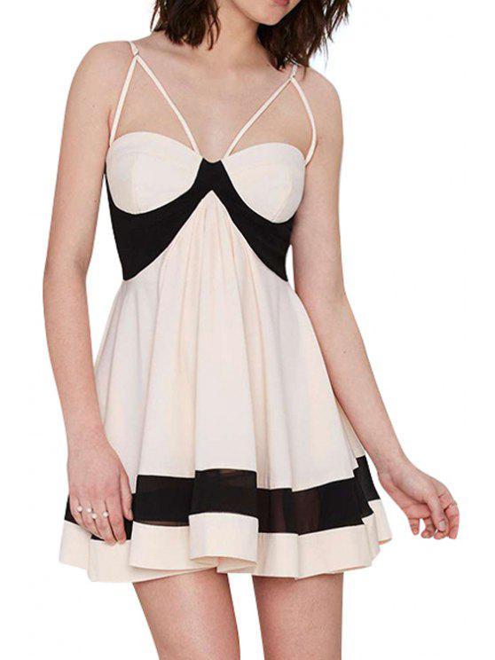 online Spaghetti Straps Color Block A-Line Dress - APRICOT S