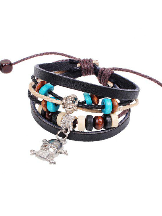 outfit Retro Beads Skeleton Pendant Layered Bracelet For Women - BLACK