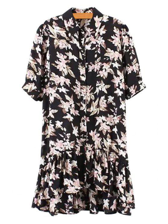 trendy Floral Print Asymmetrical Half Sleeve Dress - BLACK ONE SIZE(FIT SIZE XS TO M)
