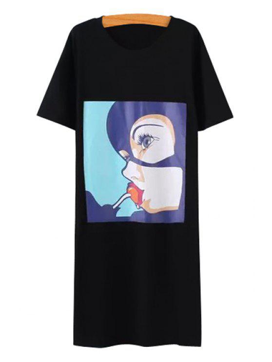 women Figure Print Side Slit Short Sleeve Dress - BLACK ONE SIZE(FIT SIZE XS TO M)