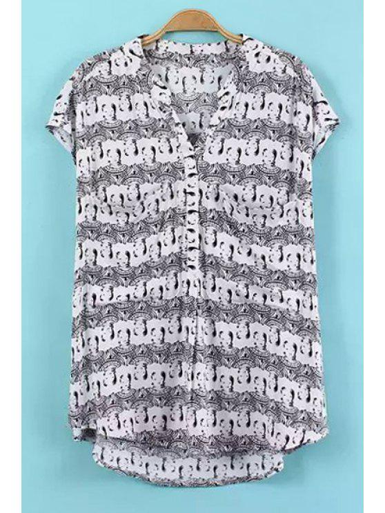 online V-Neck Figure Print Asymmetrical Shirt - GRAY ONE SIZE(FIT SIZE XS TO M)