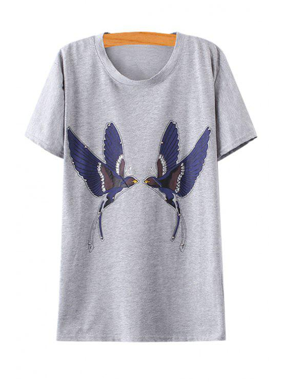 sale Swallow Print Rhinestone Embellished T-Shirt - GRAY ONE SIZE(FIT SIZE XS TO M)