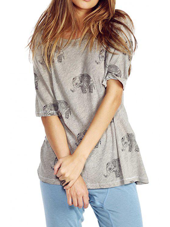 online Elephant Print Half Sleeve T-Shirt - DEEP GRAY S