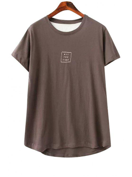 womens Back Letter Print Splicing T-Shirt - COFFEE ONE SIZE(FIT SIZE XS TO M)