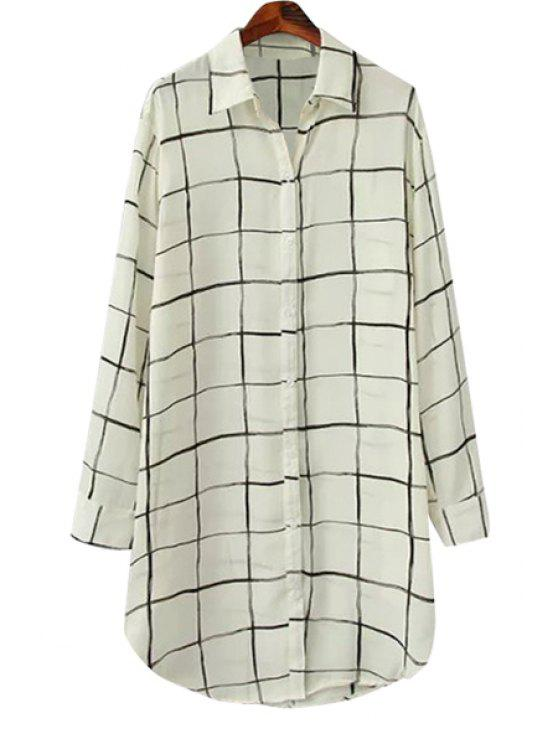 hot Plaid Polo Collar Long Sleeve Shirt - WHITE ONE SIZE(FIT SIZE XS TO M)