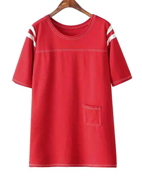 online Figure Print Stripe Short Sleeve Dress - RED M