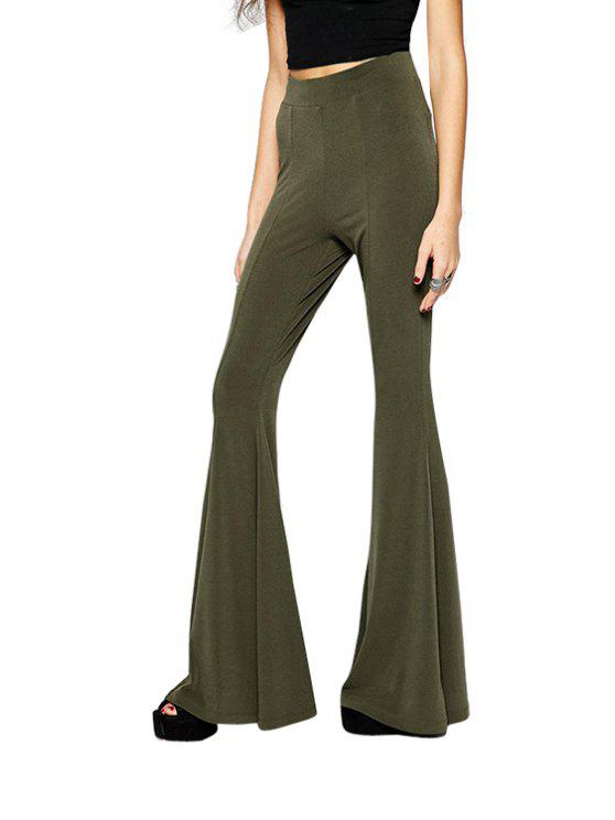 sale Solid Color Flare Pants - OLIVE GREEN S
