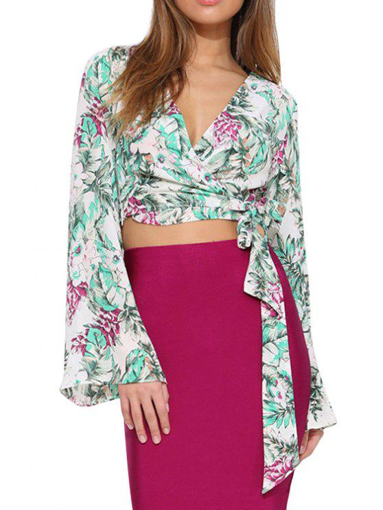 fancy Floral Long Flare Sleeve Crop Top - COLORMIX S
