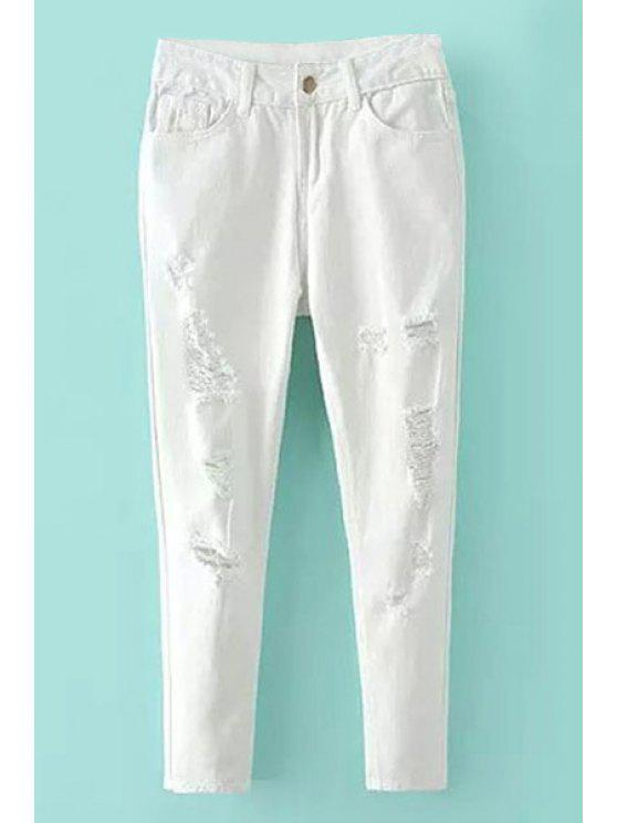 hot Destroy Wash Zipper Fly Jeans - WHITE 26