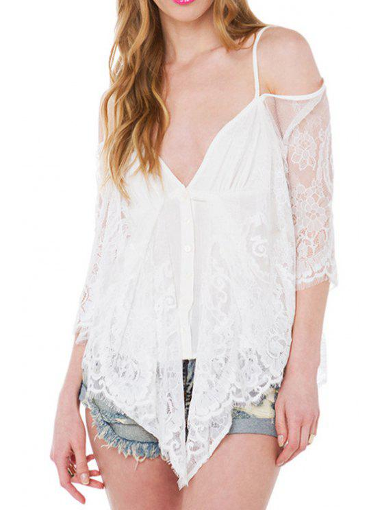 lady Lace Spliced Spaghetti Straps Blouse - WHITE S