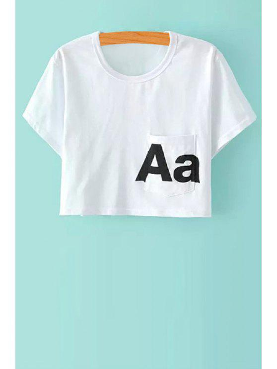 online Scoop Neck Letter Print Crop Top - WHITE S