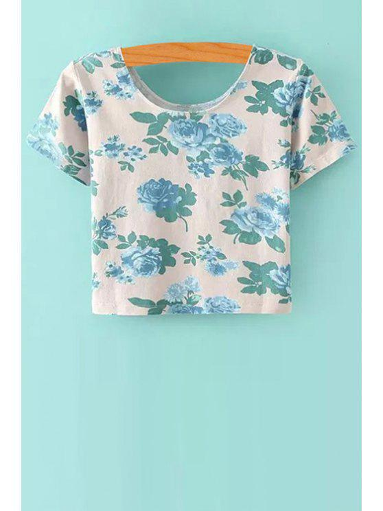 hot Scoop Neck Floral Print Crop Top - WHITE S