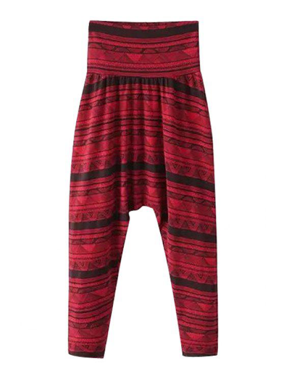 new Stripe Print Elastic Waist Harem Pants - RED M
