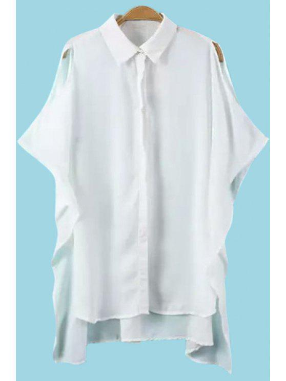 sale White Off The Shoulder Chiffon Blouse - WHITE S