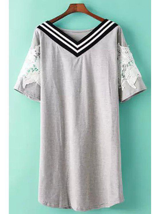 online V-Neck Stripe Lace Splicing Dress - GRAY ONE SIZE(FIT SIZE XS TO M)