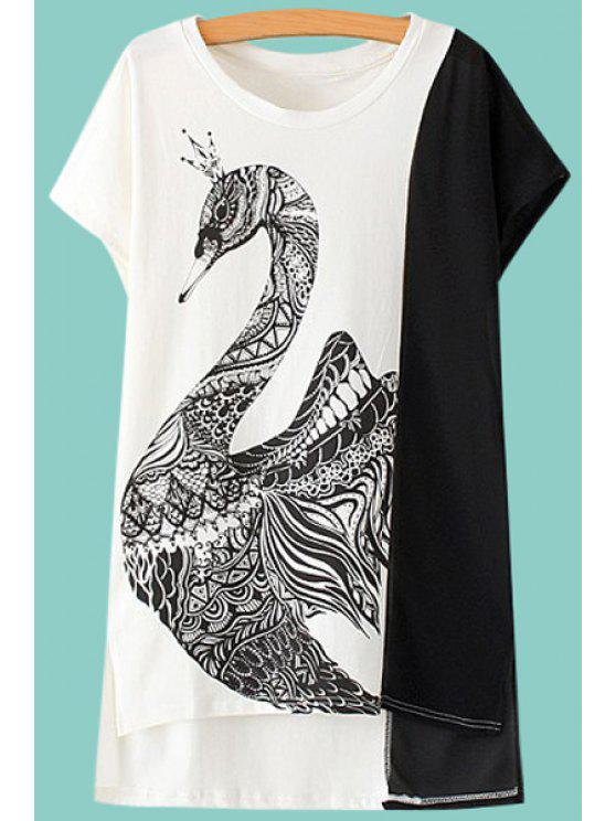 online Swan Print Short Sleeves T-Shirt - WHITE AND BLACK M