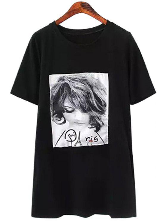 unique Figure Patch Design Short Sleeve T-Shirt - BLACK S