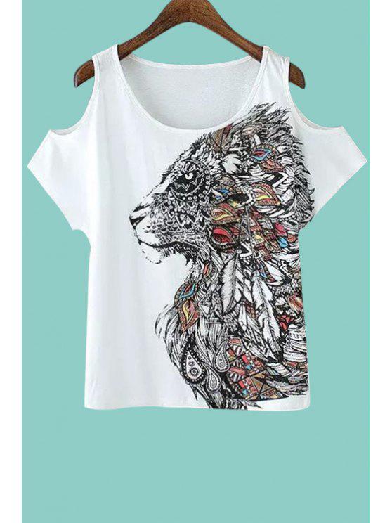 hot Lion Print Off The Shoulder T-Shirt - WHITE S