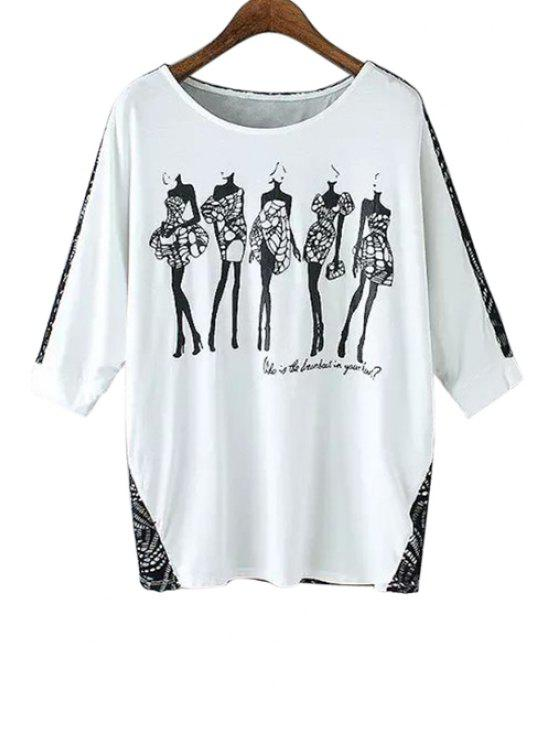 best Figure Print 3/4 Sleeves T-Shirt - WHITE AND BLACK S
