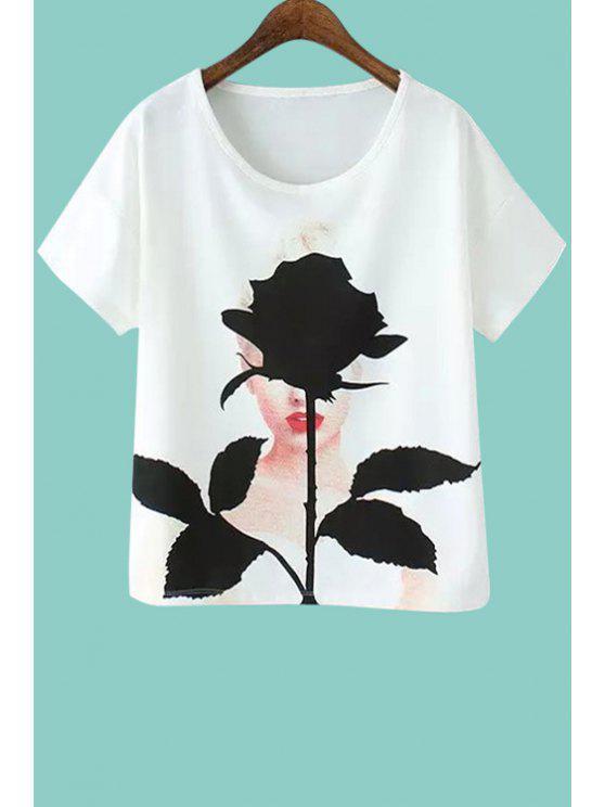 shops Figure Floral Print Short Sleeves T-Shirt - WHITE S