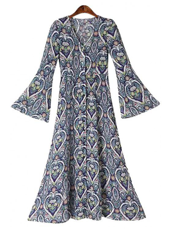 buy Heart Floral Print Flare Sleeve Maxi Dress - CADETBLUE S