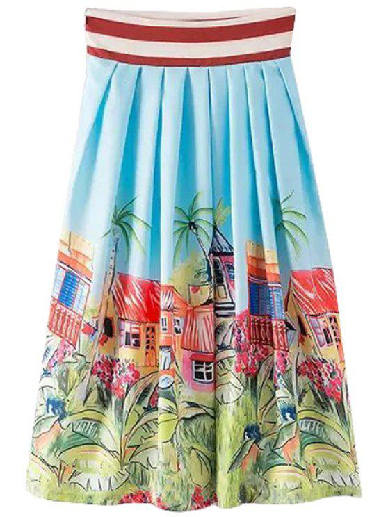 latest Scenery Print Stripe Pleated Long Skirt - LIGHT BLUE S