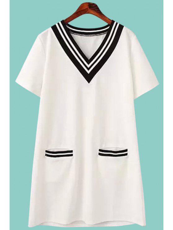 fancy Striped Spliced Short Sleeve Dress - WHITE M