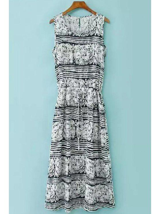 fancy Print Striped Drawstring Sundress - WHITE AND BLACK ONE SIZE(FIT SIZE XS TO M)
