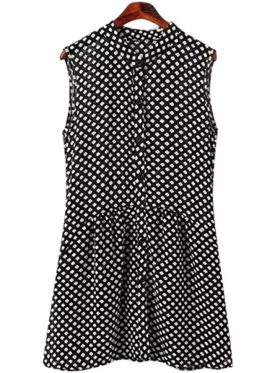 shops Print Stand Neck Sleeveless Dress - WHITE AND BLACK S