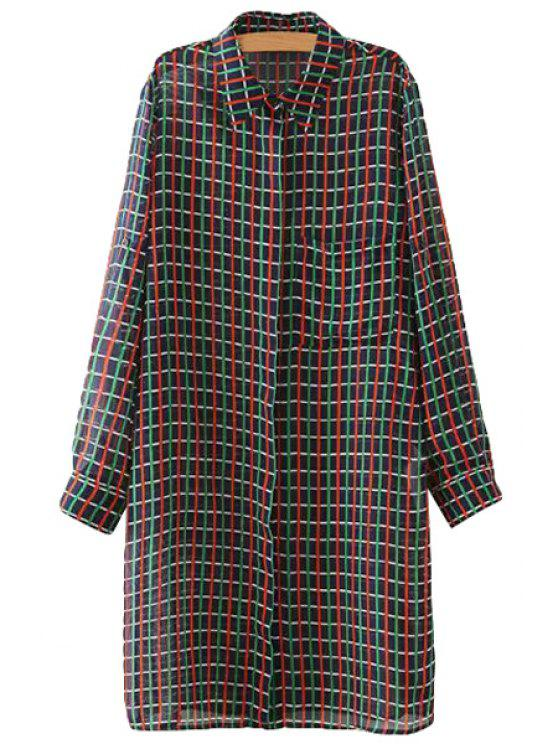 womens Plaid Pocket Side Slit Long Sleeve Shirt - RED S