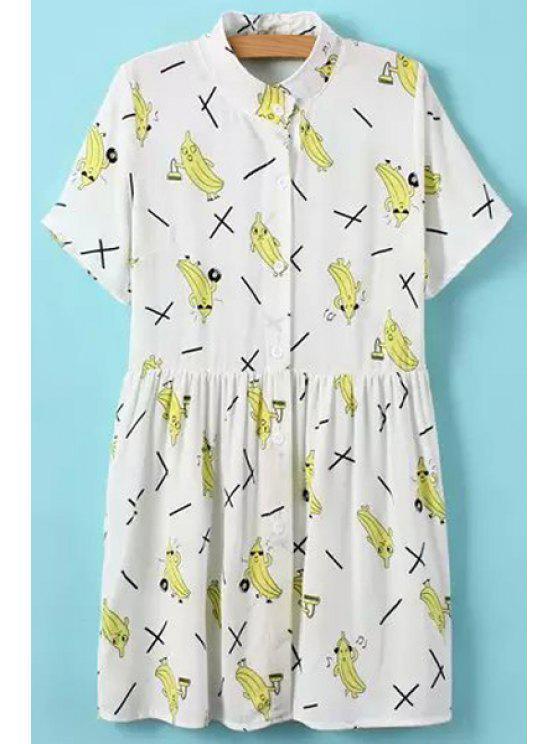 fashion Banana Print Short Sleeve Dress - WHITE ONE SIZE(FIT SIZE XS TO M)
