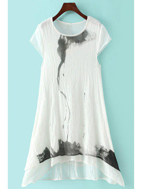 outfits Ink Print Asymmetrical Short Sleeve Dress - WHITE M