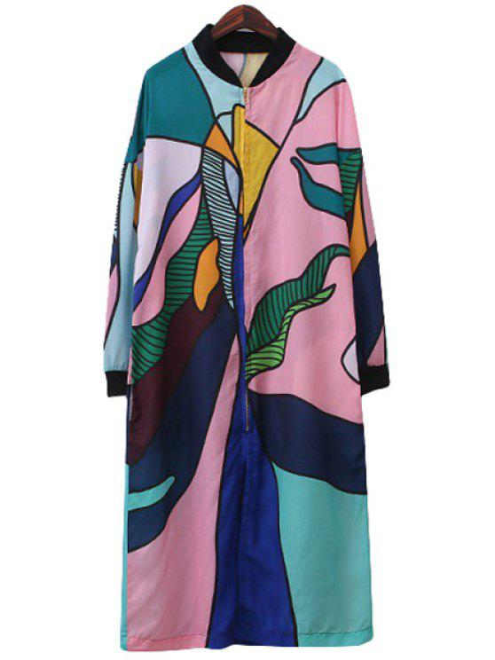 lady Stand-Up Collar Color Block Print Dress - COLORMIX S