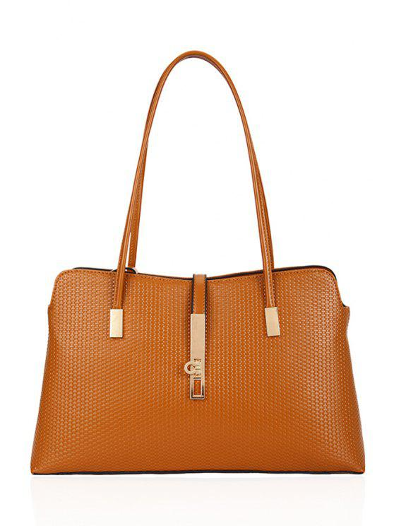 affordable Embossing Metallic PU Leather Shoulder Bag - BROWN