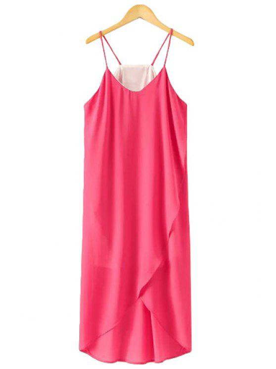 affordable Spaghetti Strap Solid Color Asymmetrical Dress - ROSE M