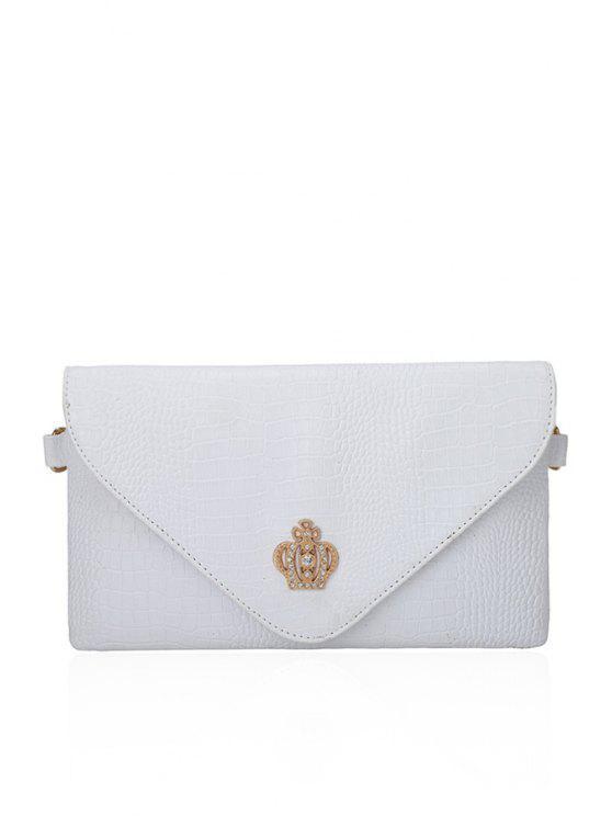 outfit Crocodile Print Crown Rhinestones Clutch Bag - OFF-WHITE