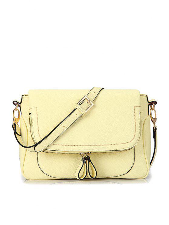 trendy Stitching Zipper PU Leather Crossbody Bag - YELLOW