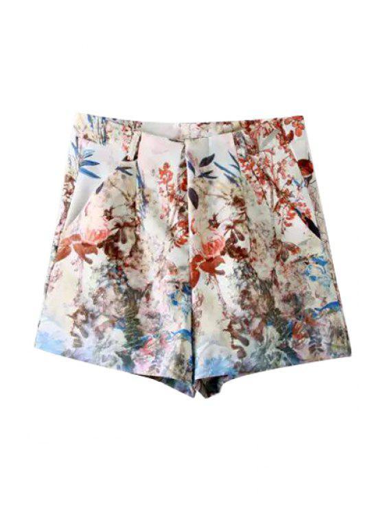 fashion Floral Print Wide Leg Shorts - COLORMIX S