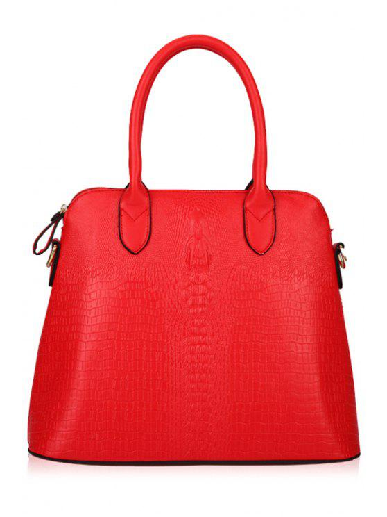 sale Crocodile Print PU Leather Tote Bag - RED