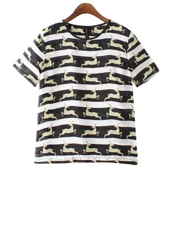 shop Animal Print Chiffon Short Sleeve T-Shirt - WHITE AND BLACK S